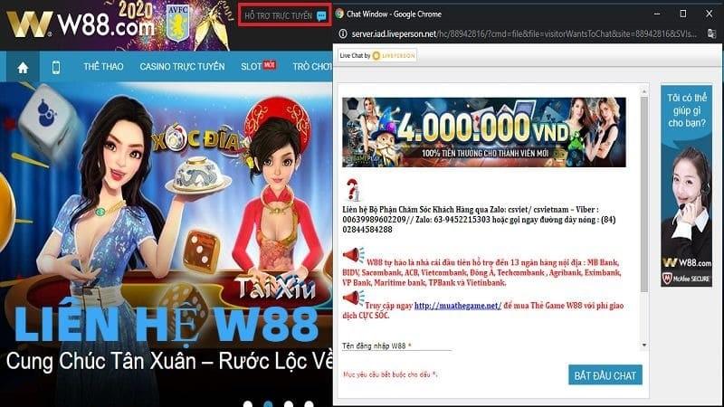 Chat trực tuyến tại website của nhà cái W88