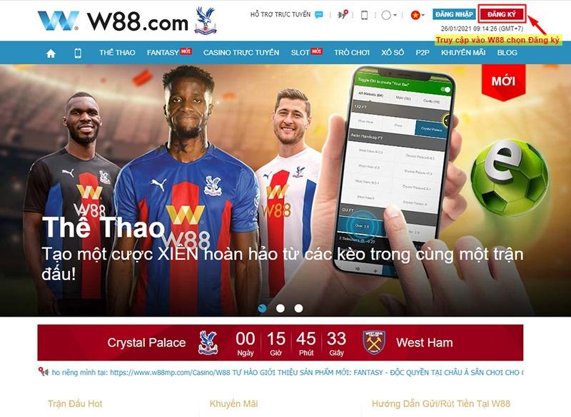 Truy cập link vào W88 và chọn đăng ký