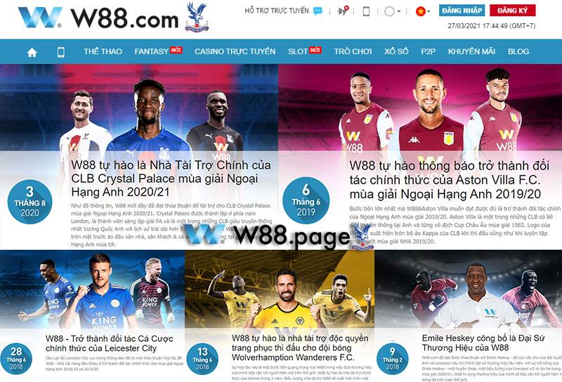 W88 tài trợ cho nhiều đội bóng lớn